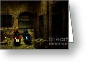 Shadows Greeting Cards - Time Travellers Greeting Card by Andrew Paranavitana