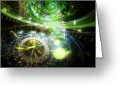 Clocks Digital Art Greeting Cards - Time Warp Greeting Card by Adam Vance