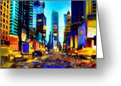 Skyscraper Mixed Media Greeting Cards - Times Square Greeting Card by Andrea Meyer