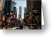New York Signs Greeting Cards - Times Square Greeting Card by Benjamin Matthijs