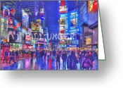 Photomanipulation Pyrography Greeting Cards - Times Square Greeting Card by Bill Unger