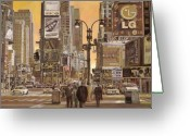 Yellow Greeting Cards - Times Square Greeting Card by Guido Borelli