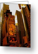 Nasdaq Greeting Cards - Times Square in Manhattan Greeting Card by Monique Wegmueller