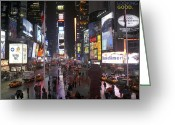 Cities Digital Art Greeting Cards - Times Square Greeting Card by Mike McGlothlen