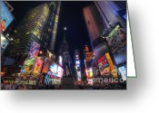 Billboards Greeting Cards - Times Square Moonlight Greeting Card by Yhun Suarez
