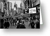 Hustle Bustle Greeting Cards - Times Square New York BW Greeting Card by David Dehner