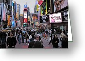 Hustle Bustle Greeting Cards - Times Square New York Greeting Card by David Dehner