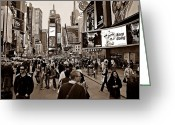 Hustle Bustle Greeting Cards - Times Square New York S Greeting Card by David Dehner
