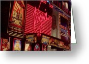 City Lights Greeting Cards - Times Square Night Greeting Card by Debbi Granruth