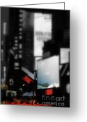 Neon Art Greeting Cards - Times Square Subway Print Greeting Card by Anahi DeCanio