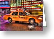 Landscapes Greeting Cards - Times Square Taxi IV Greeting Card by Clarence Holmes