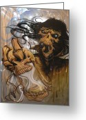 Airbrush Greeting Cards - Times Up Greeting Card by Mike Royal