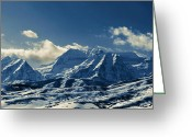 Snow Capped Photo Greeting Cards - Timpango Blue Mountains Greeting Card by Donna Duckworth