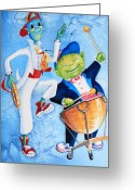 Children Book Illustrator Greeting Cards - Timpani Symphony Greeting Card by Hanne Lore Koehler