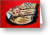 Softball Mitt Greeting Cards - Tims Glove Greeting Card by Jame Hayes