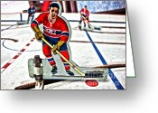 Vintage Hockey Player Greeting Cards - Tin Canadien Greeting Card by Nathan  Brend