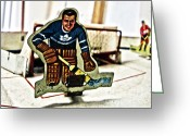 Vintage Hockey Player Greeting Cards - Tin Goalkeeper Greeting Card by Nathan  Brend