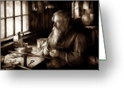 Santa Claus Greeting Cards - Tin Smith - Making toys for Children - Sepia Greeting Card by Mike Savad
