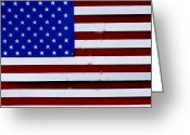 Flag Pyrography Greeting Cards - Tin U.S.A. Flag Greeting Card by Angelo DeFilippo
