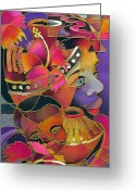 Silk Art Greeting Cards - Tinana II - Strength of a Woman Greeting Card by Maria Rova