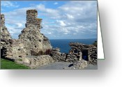King Arthur Greeting Cards - Tintagel Castle 1 Greeting Card by Kurt Van Wagner