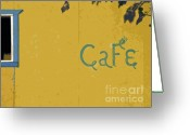 Happy Colors Greeting Cards - Tiny Cafe Greeting Card by Joe JAKE Pratt