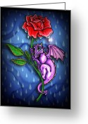 Baby Room Greeting Cards - Tiny Dragon with Rainy Day Red Rose Greeting Card by Lisa Anne Riley