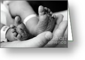 Newborn Greeting Cards - Tiny Feet Greeting Card by Sebastian Musial