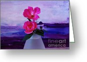 Purples Greeting Cards - Tiny Rose Bouquet Greeting Card by Marsha Heiken