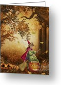 Witches Greeting Cards - Tiny Witch Greeting Card by Cheryl Young