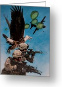 Patriotism Painting Greeting Cards - Tip of the Spear Greeting Card by Dan  Nance