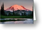 Mountain Summit Greeting Cards - Tipsoo Dawn Greeting Card by Winston Rockwell