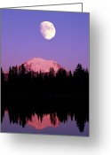 Montana Greeting Cards - Tipsoo Lake And Full Moon At Mount Ranier National Park In Washington Greeting Card by Steve Satushek