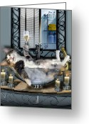 Contemporary Greeting Cards - Tipsy kitty taken a bubble bath by candlelight  Greeting Card by Gina Femrite