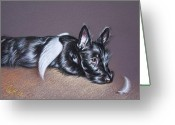Terrier Greeting Cards - Tired angel Greeting Card by Elena Kolotusha