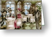 Fashionable Drawings Greeting Cards - Titanic - 1st Class Cafe Greeting Card by James Falciano
