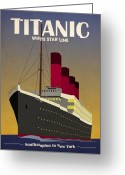 Ship Greeting Cards - Titanic Ocean Liner Greeting Card by Michael Tompsett