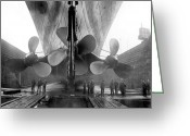 Metal Greeting Cards - Titanic Propellers 1911 Greeting Card by Stefan Kuhn