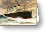 Tragedy Greeting Cards - Titanic Ship Greeting Card by Corey Ford