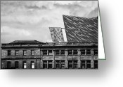 Construction Yard Greeting Cards - Titanic Signature Project Building Rising Above The Harland And Wolff Drawing Offices Greeting Card by Joe Fox
