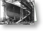 Construction Greeting Cards - Titanic under Construction 1911 Greeting Card by Stefan Kuhn