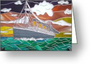 Star Glass Art Greeting Cards - Titanics Last Sunset in Beautiful Stained Glass. Greeting Card by Robin Jeffcoate