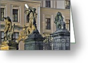 Pain Greeting Cards - Titans battling outside Prague Castle Greeting Card by Christine Till
