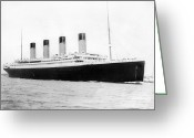 Black White Greeting Cards - Titantic departing Southhampton Greeting Card by Stefan Kuhn