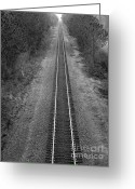 Railroad Track Greeting Cards - To Infinity...and beyond Greeting Card by David Bearden