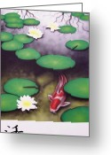 Lilly Pad Painting Greeting Cards - To Live Greeting Card by Devaron Jeffery