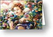 Guardian Angel Greeting Cards - To Mom-John Greeting Card by Mary J Russell