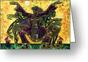 Black Art Greeting Cards - To The Beat Of The Drum Greeting Card by Larry Poncho Brown