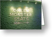 Red Sign Greeting Cards - To the Green Monster Seats Greeting Card by Barbara McDevitt