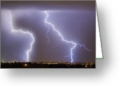 Lightning Weather Stock Images Greeting Cards - To The Right Right To The Left left Greeting Card by James Bo Insogna